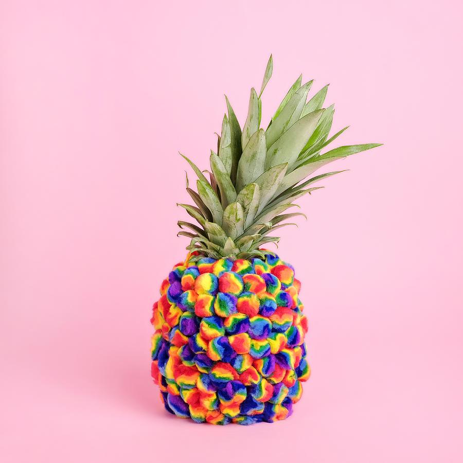 Pineapple Covered In Tie-dye Pompoms Photograph by Juj Winn