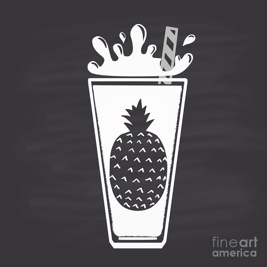 Blackboard Digital Art - Pineapple Juice Drawn In Chalk In A by Anat om