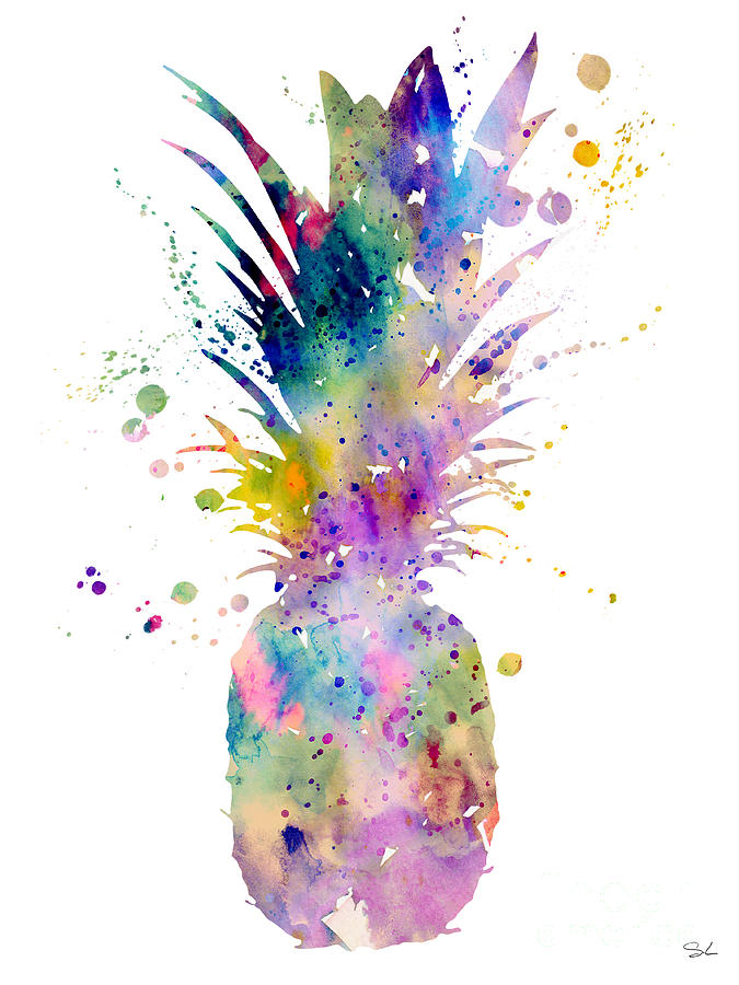 pineapple painting. watercolor painting - pineapple by girl n