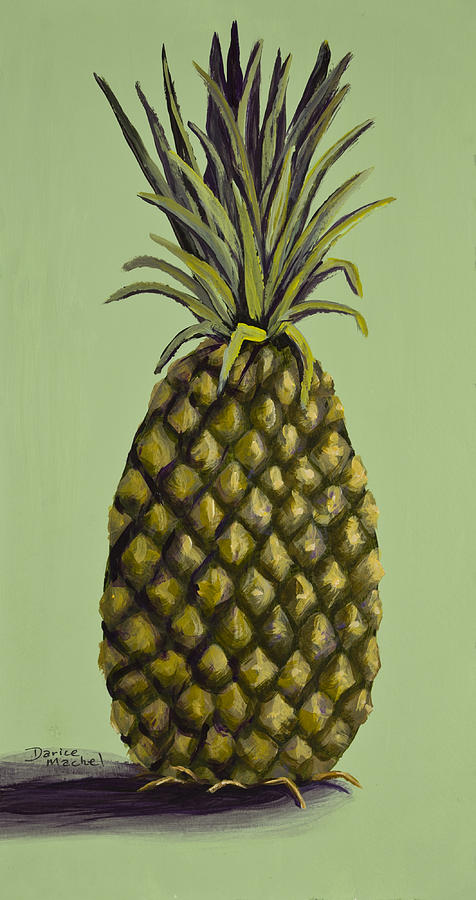 Kitchen Decor Painting - Pineapple On Green by Darice Machel McGuire