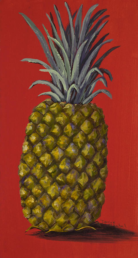 Kitchen Painting - Pineapple On Red by Darice Machel McGuire
