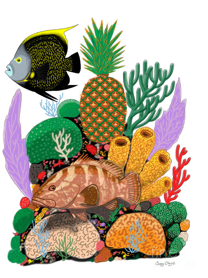 Pineapple Digital Art - Pineapple Reef by Carey Chen