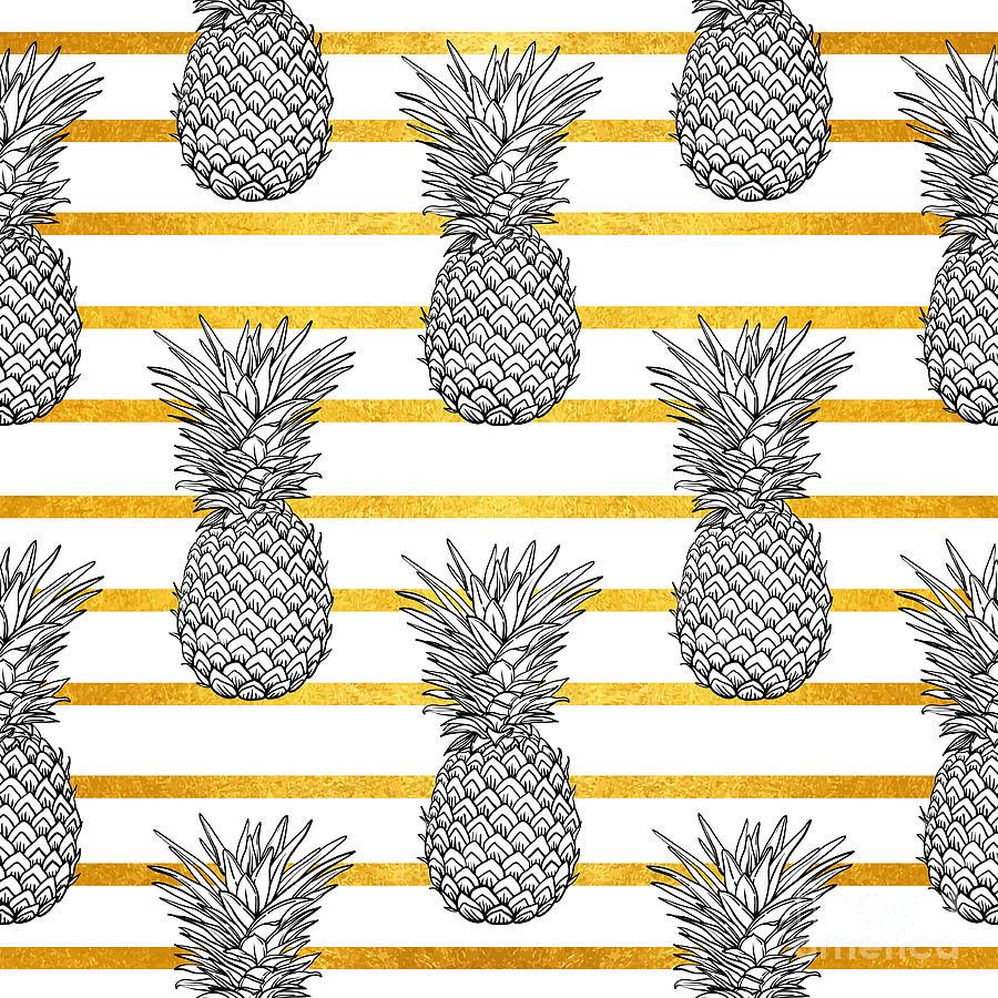 Palm Digital Art - Pineapple Tropical Vector Seamless by Vavavka