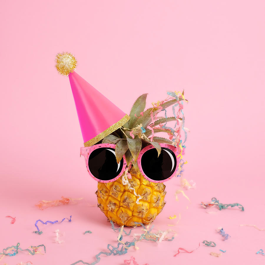 Celebration Photograph - Pineapple Wearing A Party Hat And by Juj Winn