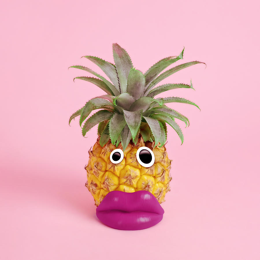 Pineapple With Face Made Of Fake Lips Photograph by Juj Winn