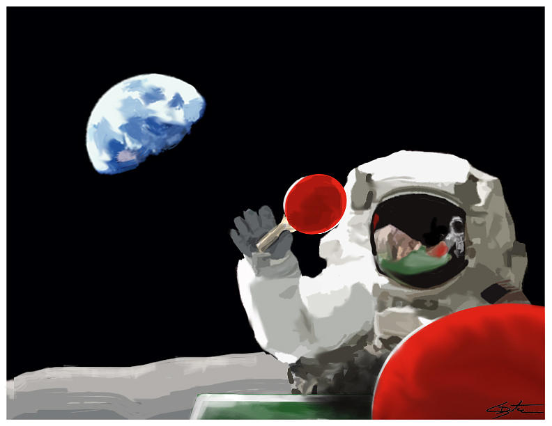 Astronaut Digital Art - Ping Pong 1969 by Seth Deter