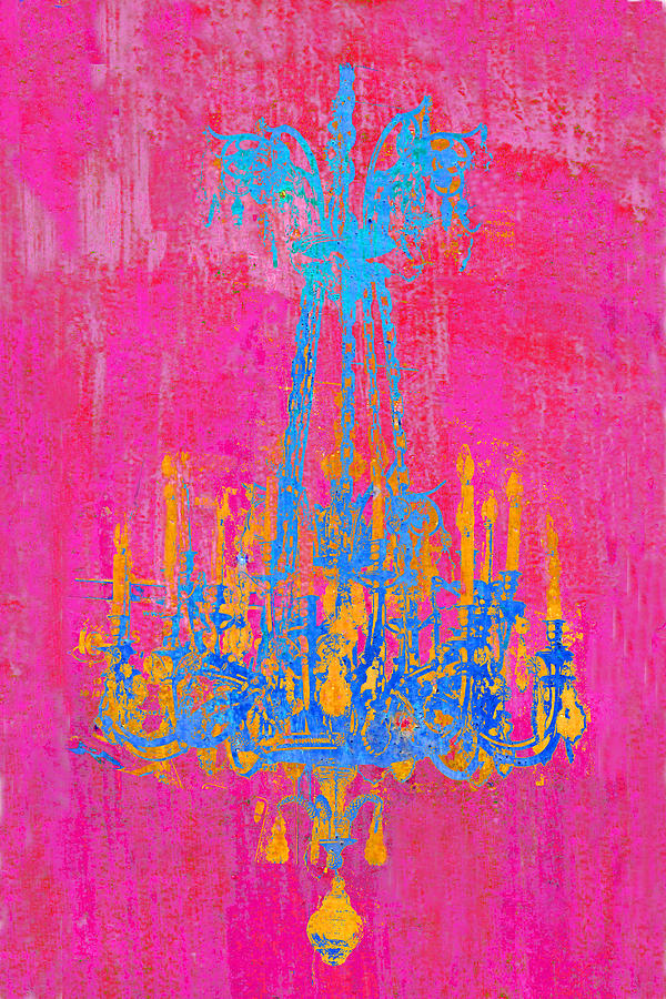 Pink Photograph - Pink And Blue Chandelier by Suzanne Powers