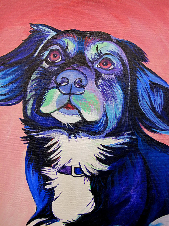 Dog Portraits Painting - Pink And Blue Dog by Joshua Morton