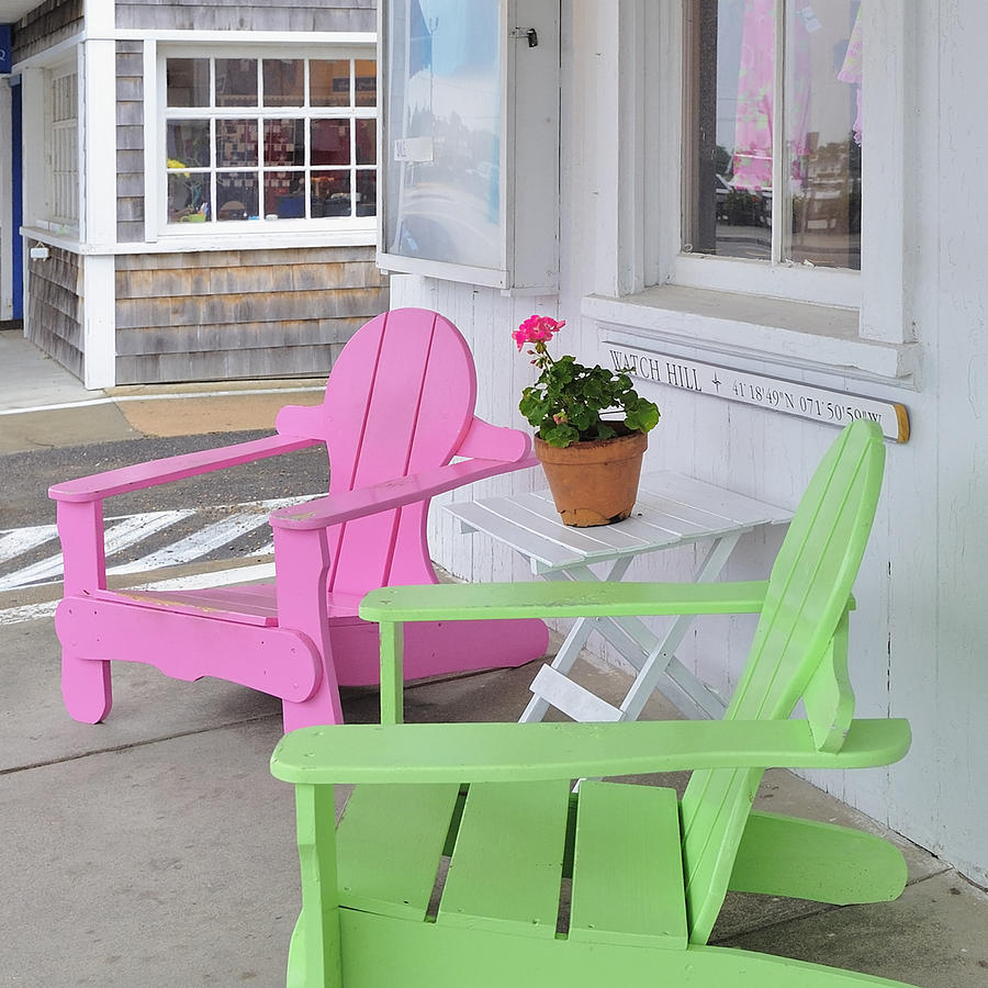 Adirondack Photograph - Pink And Green Chairs Watch Hill Rhode Island by Marianne Campolongo