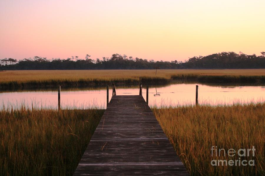 Pink Photograph - Pink And Orange Morning On The Marsh by Nadine Rippelmeyer