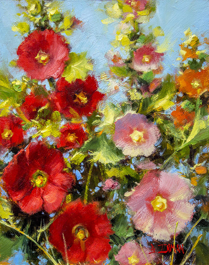 Beautiful Painting - Pink And Red In The Flower Bed by Bill Inman