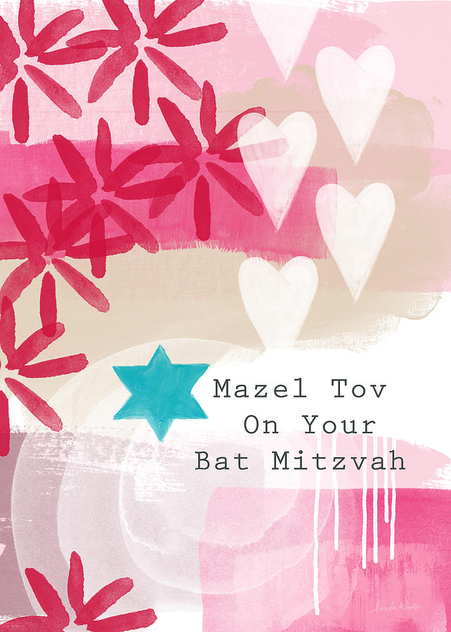 Pink And White Bat Mitzvah- Greeting Card Painting