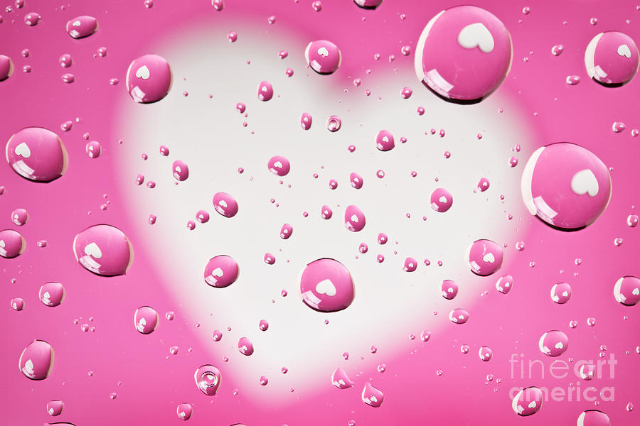 Pink Photograph - Pink And White Heart Reflections In Water Droplets by Sharon Dominick
