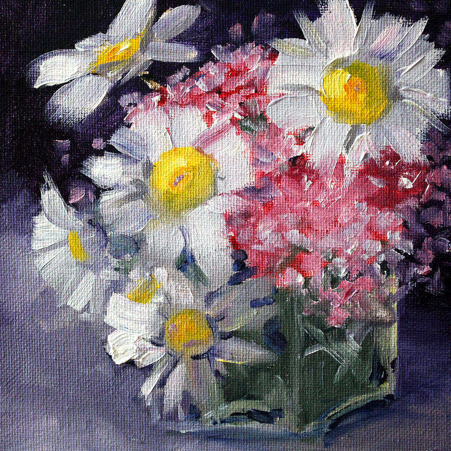 Daisy Painting - Pink And White by Nancy Merkle