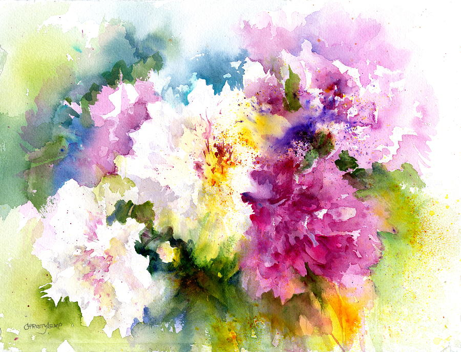 Peonies Painting - Pink And White Peonies by Christy Lemp