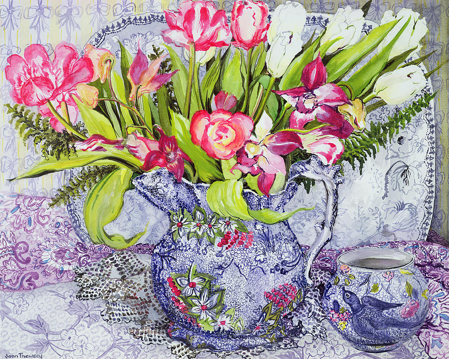 China Painting - Pink And White Tulips Orchids And Blue Antique China by Joan Thewsey
