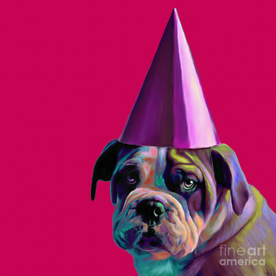 Painting Painting - Pink Birthday Pup by Jennifer Gibson
