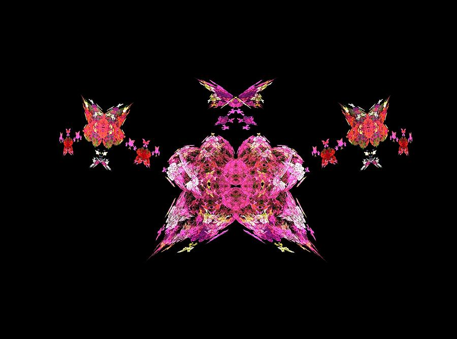 Fractals Painting - Pink Butterflies by Bruce Nutting