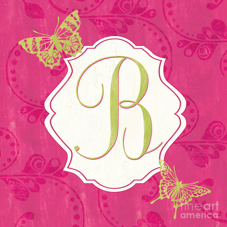Pink Butterfly Monogram Painting