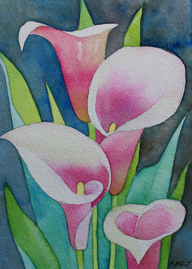 Pink Calla Lilies Painting by Mae Javelona