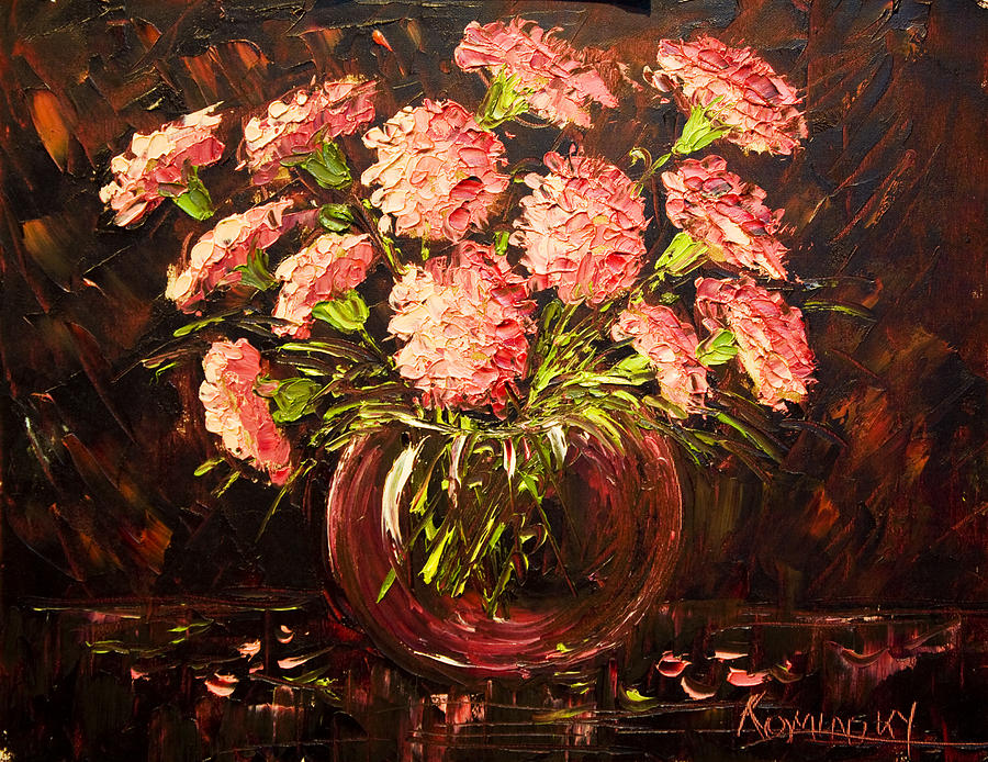Nancy Painting - Pink Carnations Paint Along With Nancy Pbs by    Michaelalonzo   Kominsky