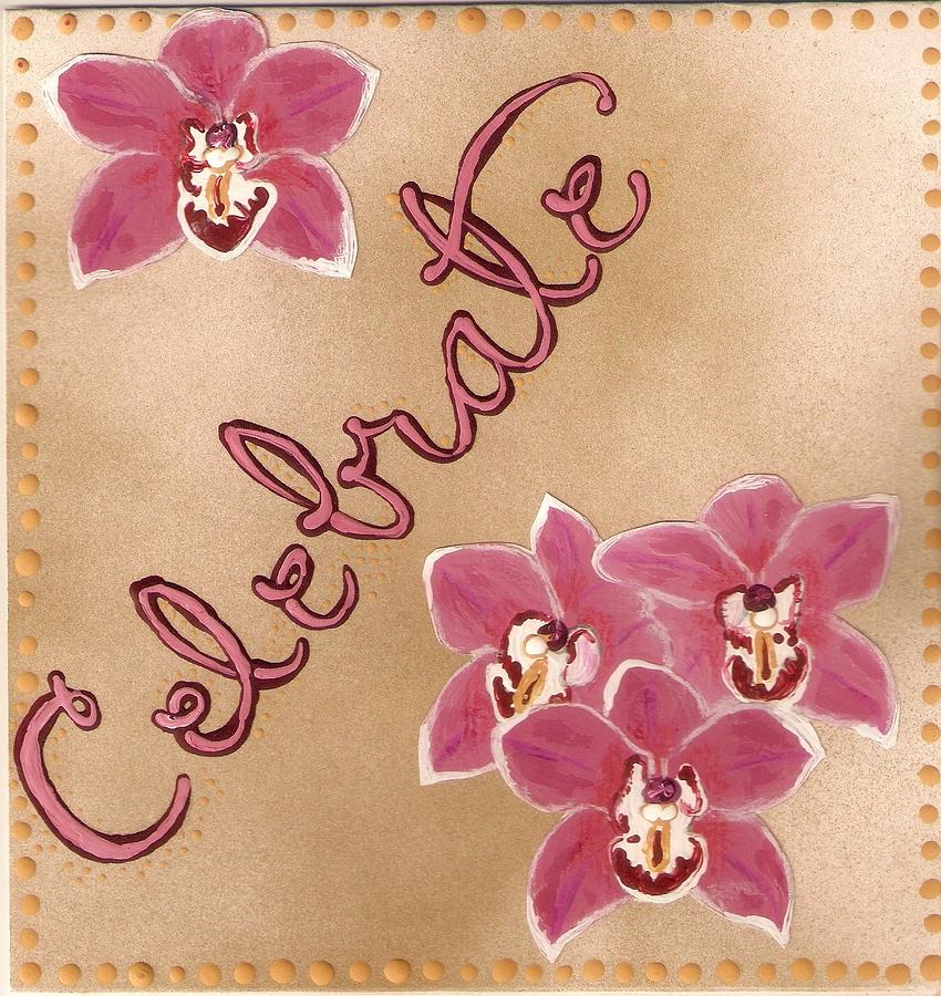 Orchids Painting - Pink Celebration by Santoshia  Daise