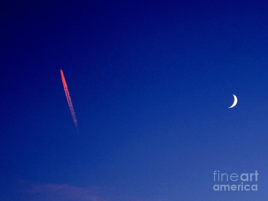 Pink Con Trail And Moon Photograph