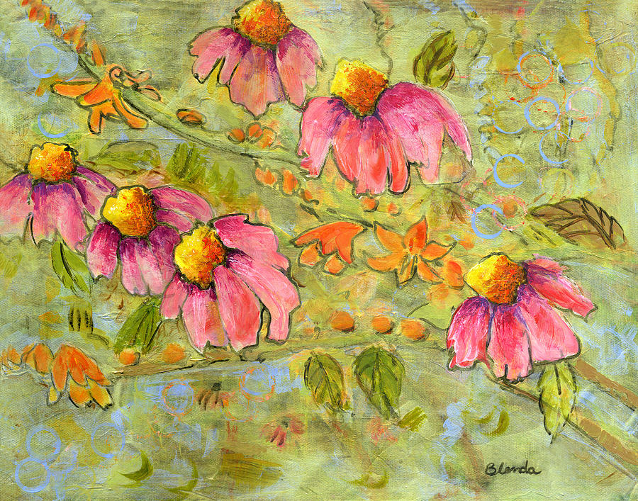 Flowers Painting - Pink Coneflowers For Marian by Blenda Studio