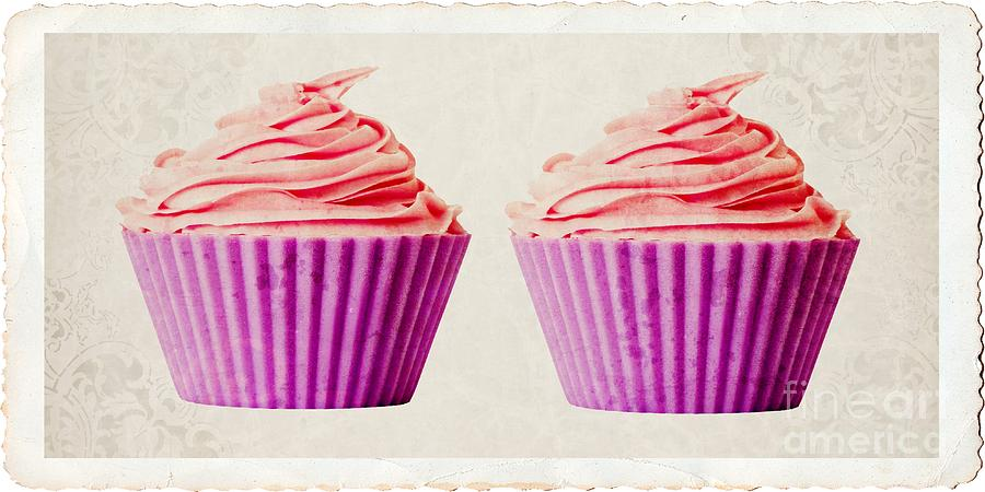 Twin Photograph - Pink Cupcakes by Edward Fielding