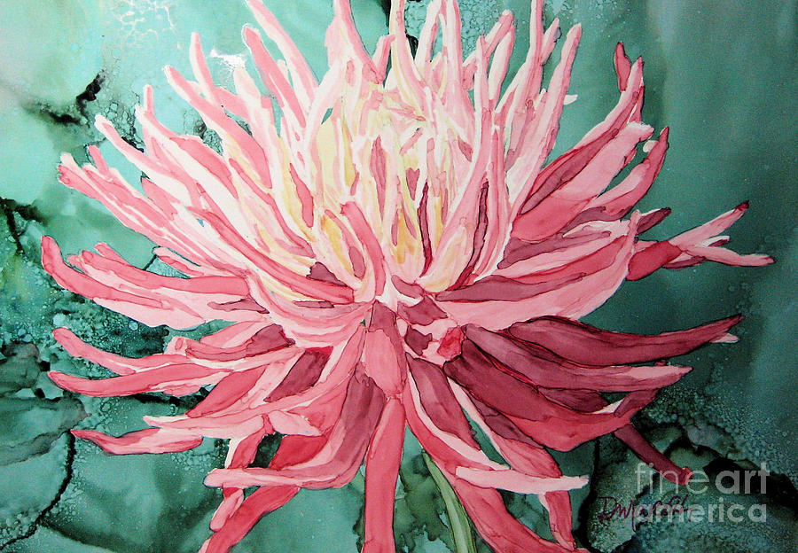 Alcohol Ink Painting - Pink Dahlia by Diane Marcotte