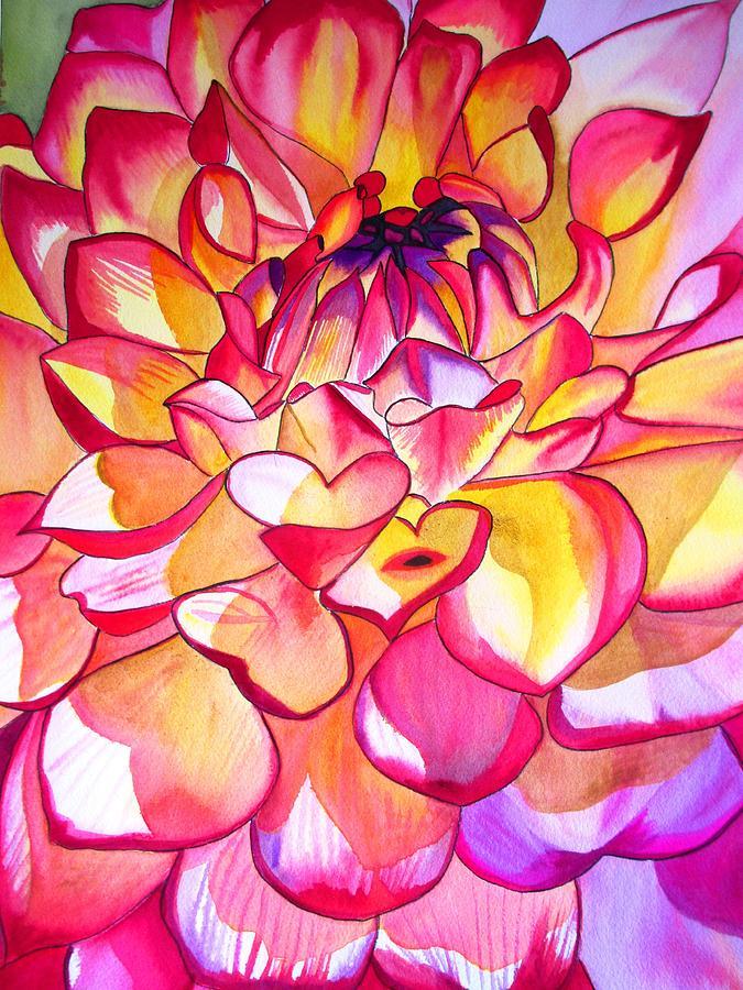 Dahlia Painting - Pink Dahlia by Sacha Grossel
