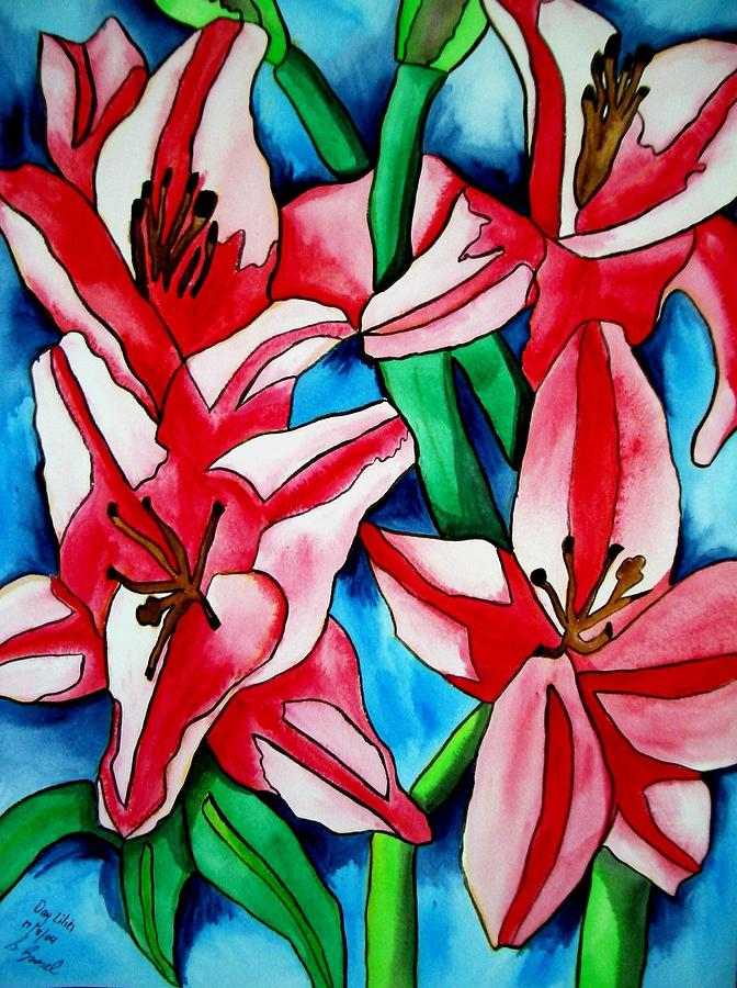 Lilies Painting - Pink Day Lilies by Sacha Grossel