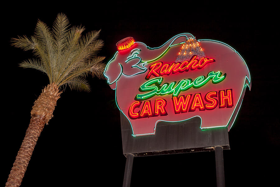 Pink Elephant Car Wash 36 X 24 by Scott Campbell