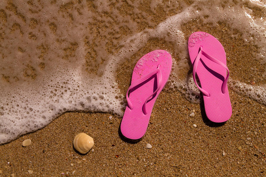6d880317be45 Pink Flip Flops On The Beach Photograph by Teri Virbickis