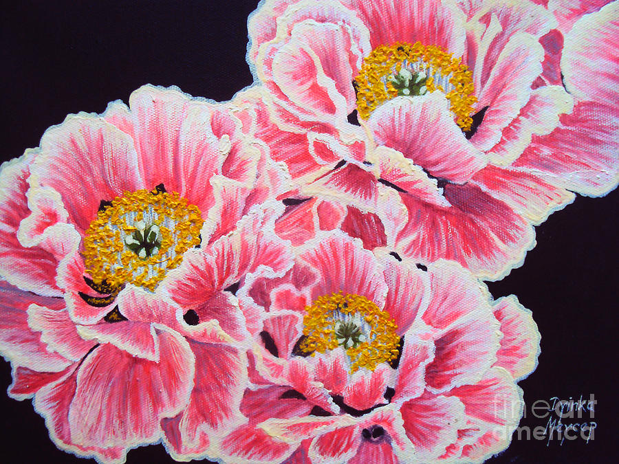 Pink Flowers Painting - Peony Painting Oil On Canvas No.2 by Drinka Mercep