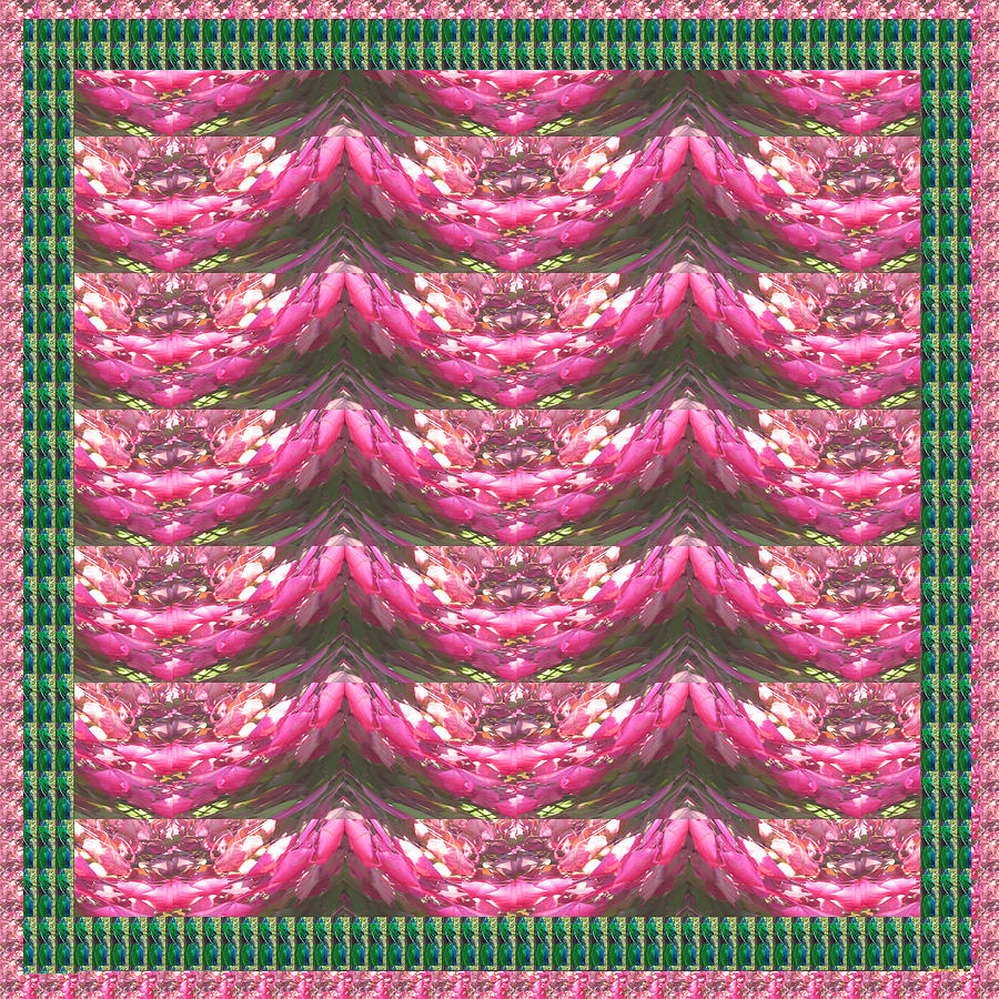 Pink Mixed Media - Pink Flower Petal Based Crystal Beads In Sync Wave Pattern by Navin Joshi