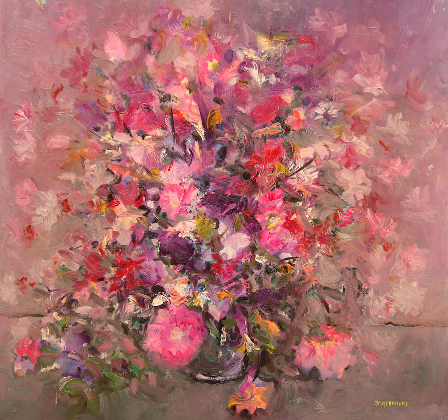 Pink Flowers Bouquet Painting By Mario Zampedroni
