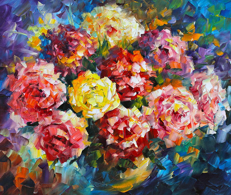 Flowers Painting - Pink Flowers by Leonid Afremov