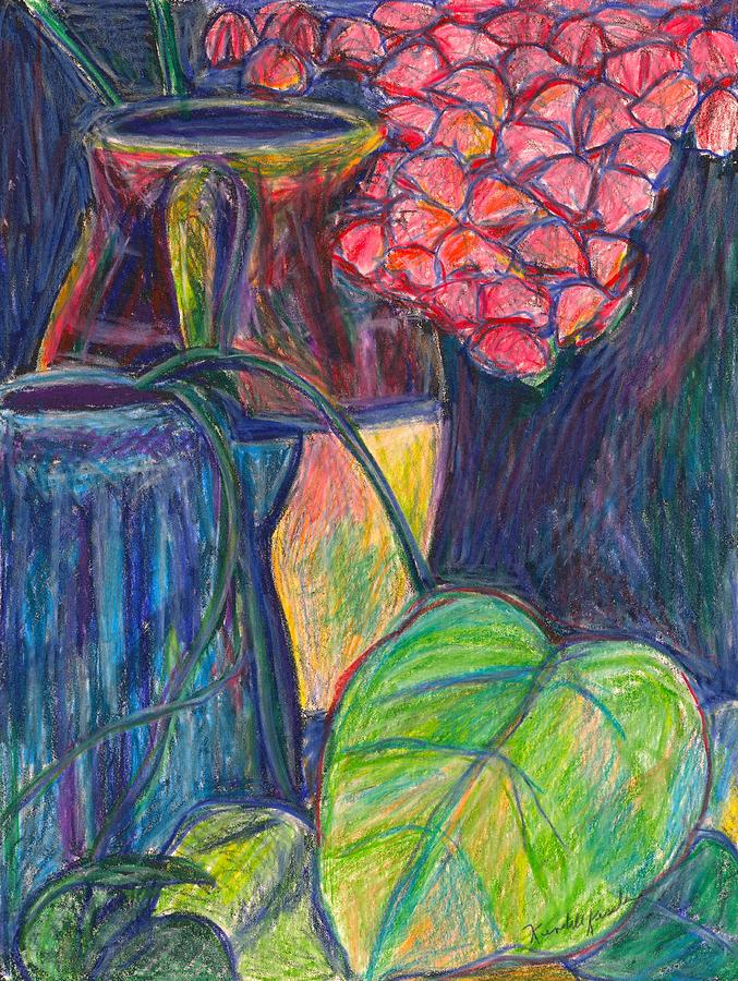 Still Life Drawing - Pink Flowers This Time by Kendall Kessler