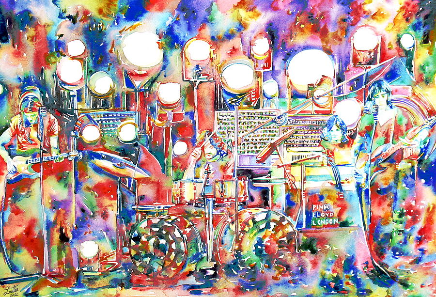 Pink Floyd Live Concert Watercolor Painting 1 Painting By