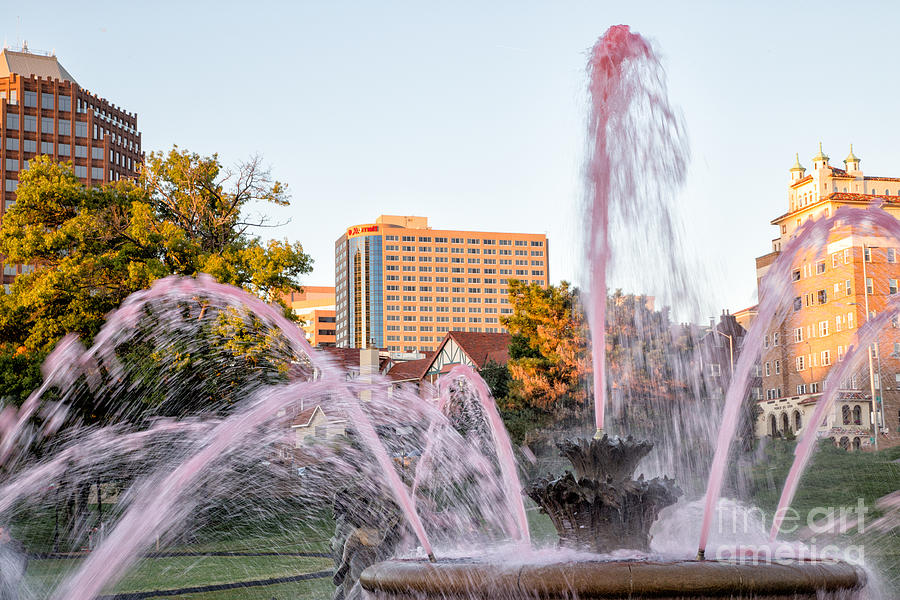 Fountain Photograph - Pink Fountain For Breast Cancer by Terri Morris