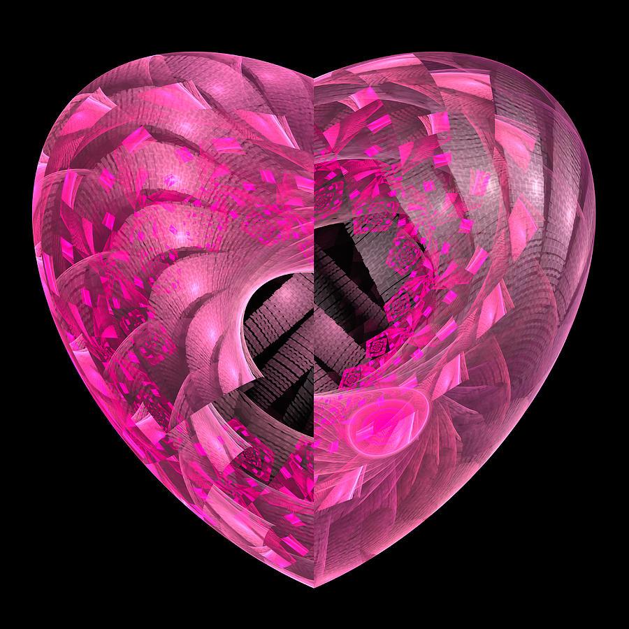 Pink Fractal Heart Square Format Poster Digital Art
