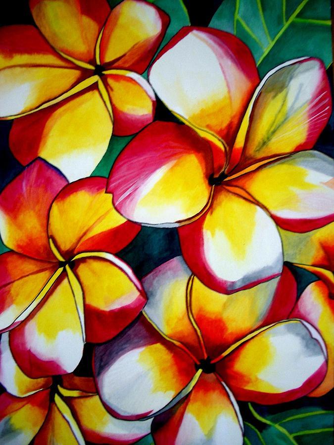 Frangipani Painting - Pink Frangipanis by Sacha Grossel