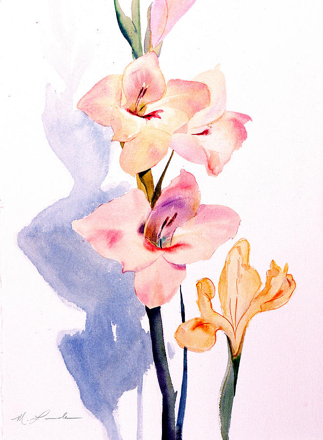 Gladiolas Painting - Pink Gladiolas by Mark Lunde