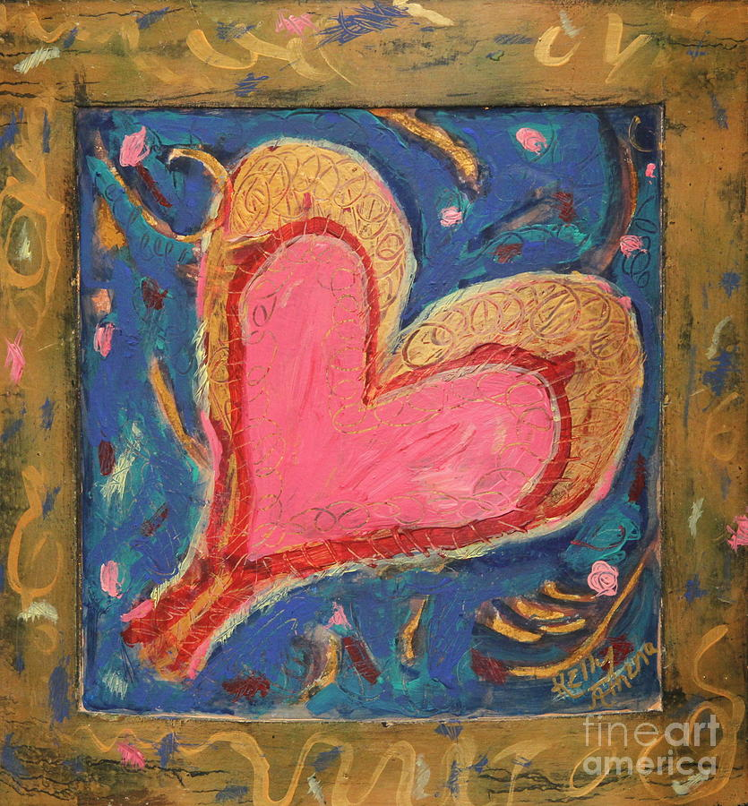 Pink Heart Mixed Media - Pink Heart On Beveled Wood by Kelly Athena