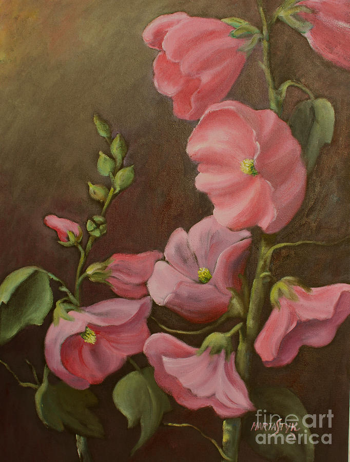 Pink Holyhock Painting by Marta Styk