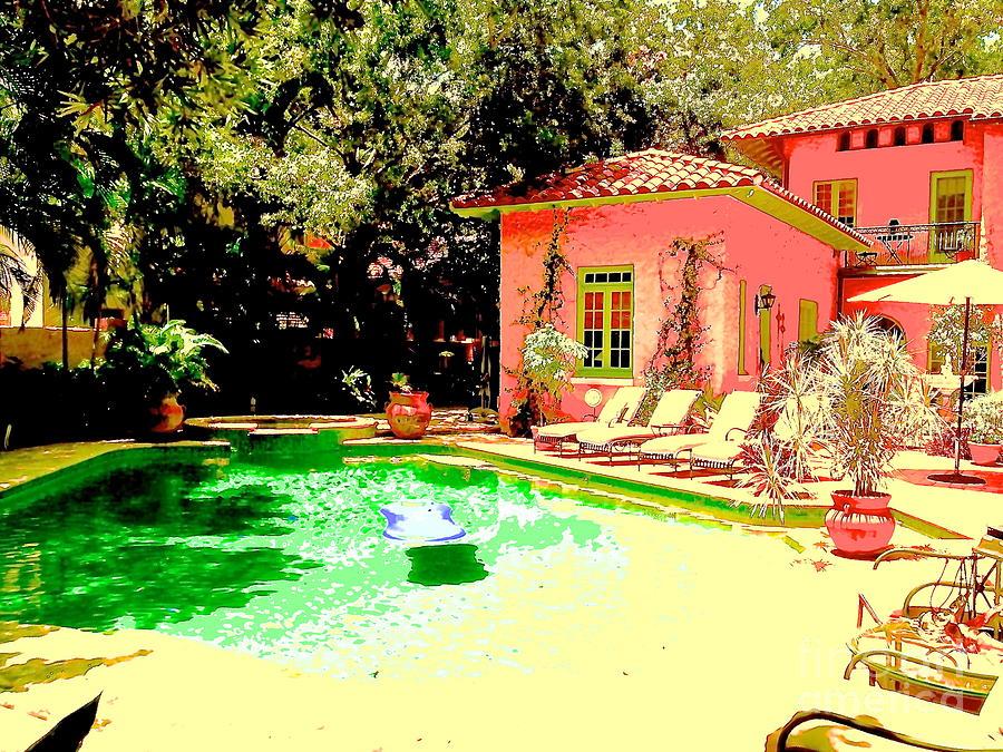 Pink house green pool digital art by diane phelps for Pool designs under 50 000