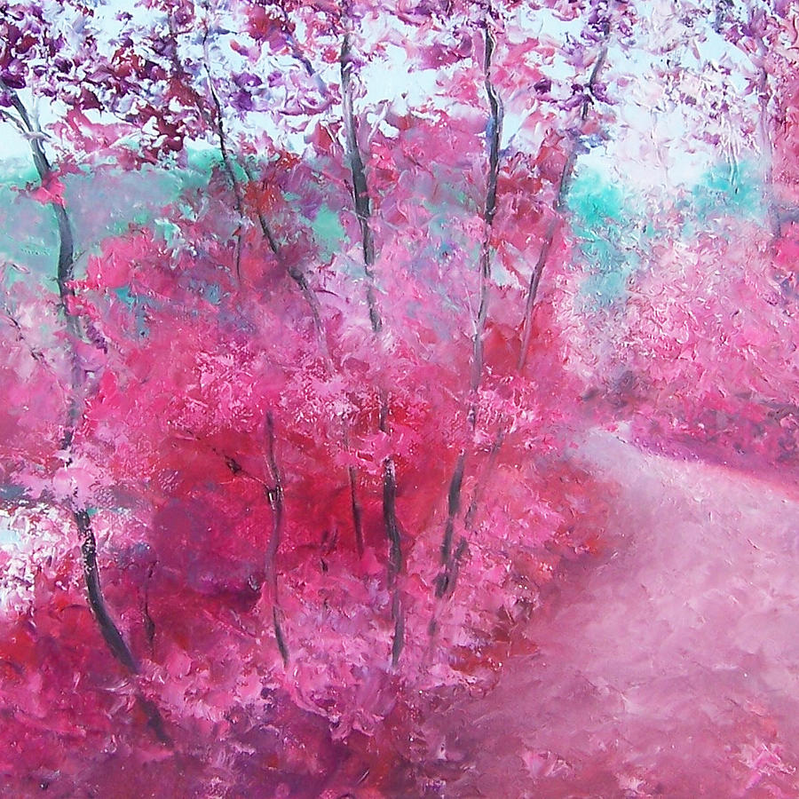 Autumn Trees Painting - Pink Landscape by Jan Matson