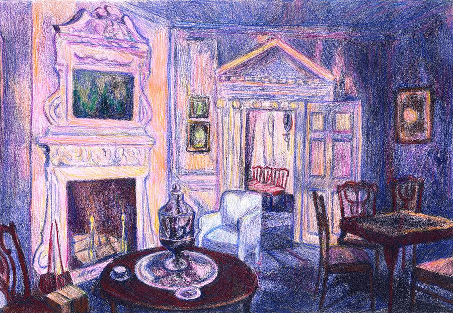 Kendall Kessler Drawing - Pink Light At Mount Vernon by Kendall Kessler