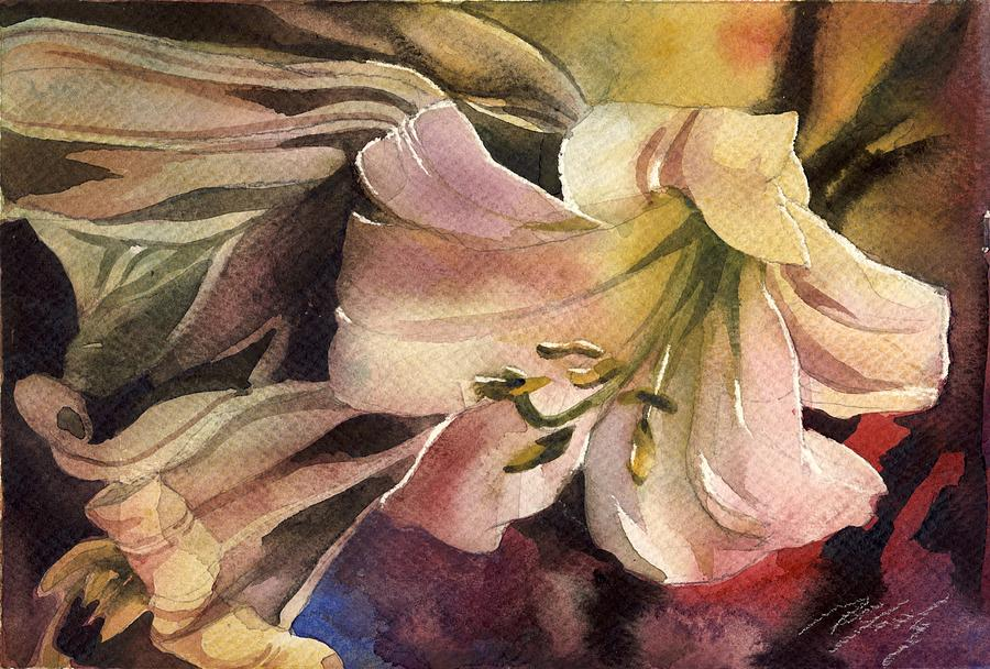 Lily Painting - Pink Lilies by Alfred Ng
